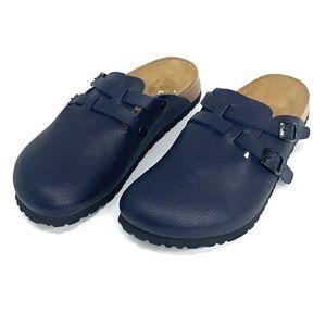 Birkenstock's birkies navy blue slip on clogs